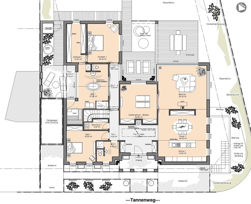 Grundriss bungalow mit einliegerwohnung  Friesenhaus Bauen Grundrisse: Massivhaus bauen » topfrose 179 ...